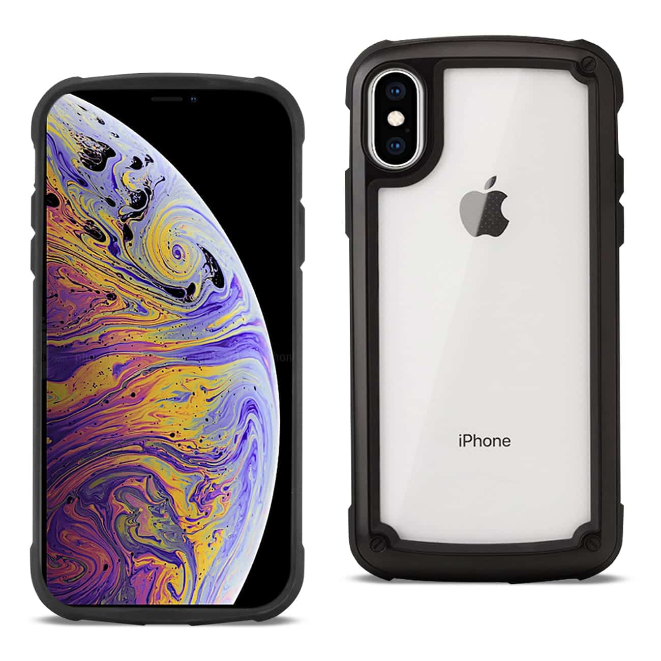 APPLE IPHONE XS MAX Heavy Duty Rugged Shockproof Full Body Case In Black/Clear