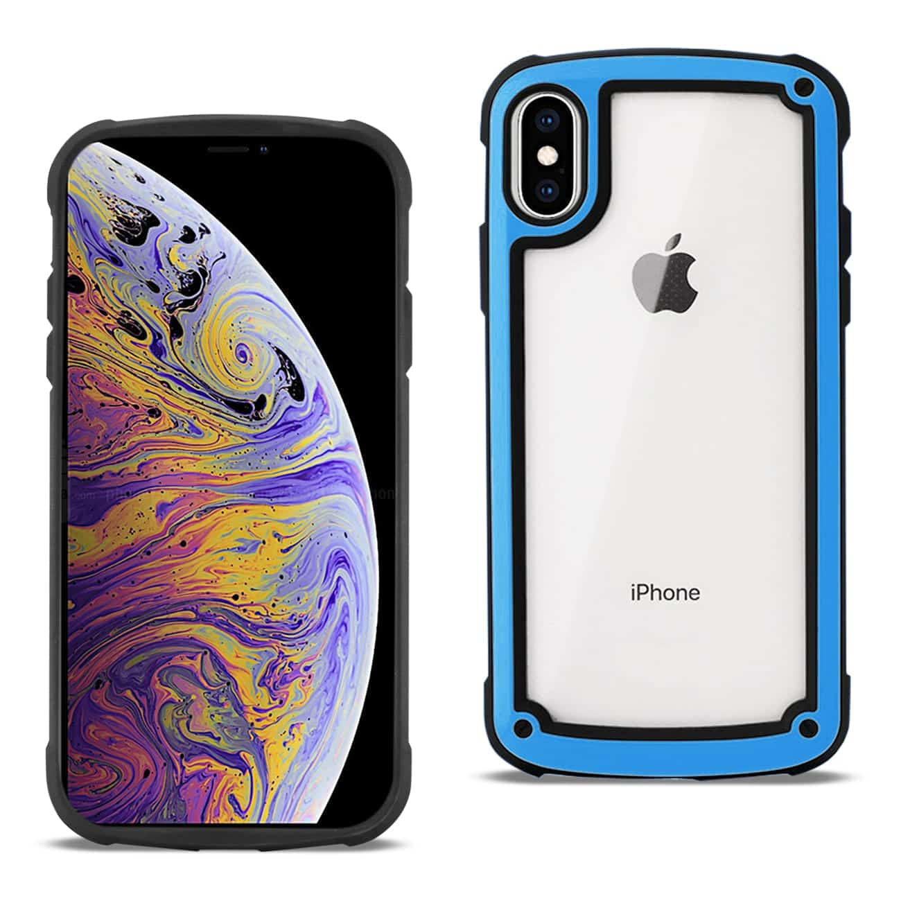APPLE IPHONE XS MAX Heavy Duty Rugged Shockproof Full Body Case In Blue/Clear