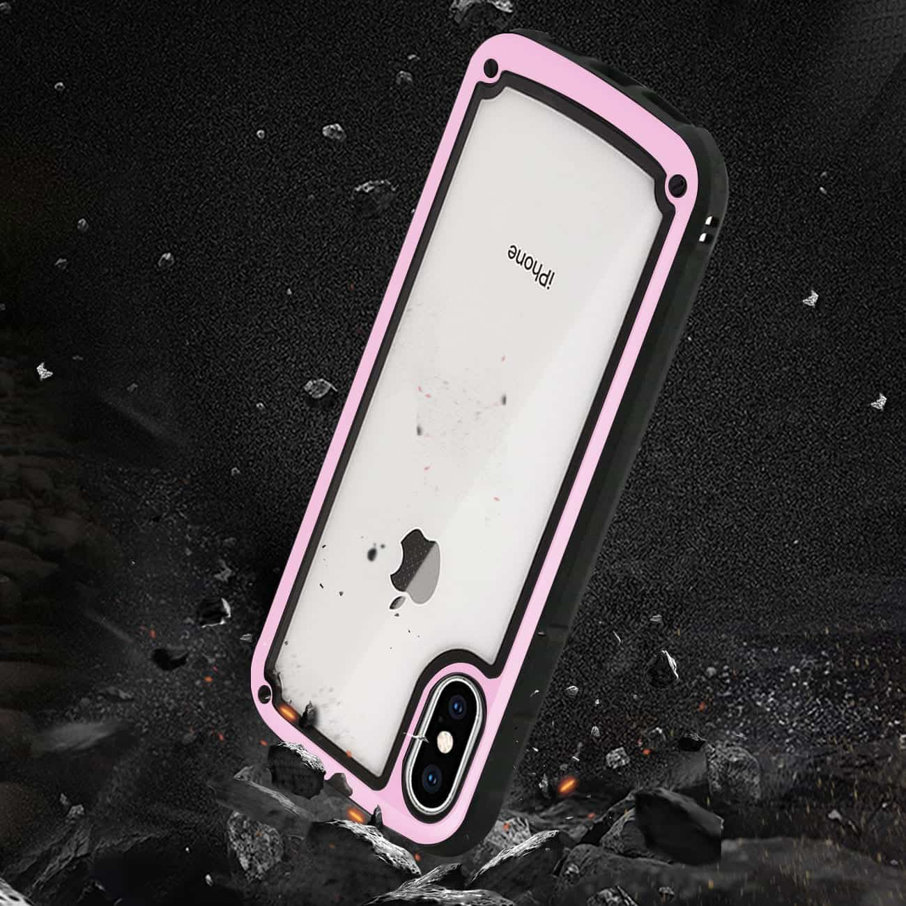 APPLE IPHONE XS MAX Heavy Duty Rugged Shockproof Full Body Case In Pink/Clear