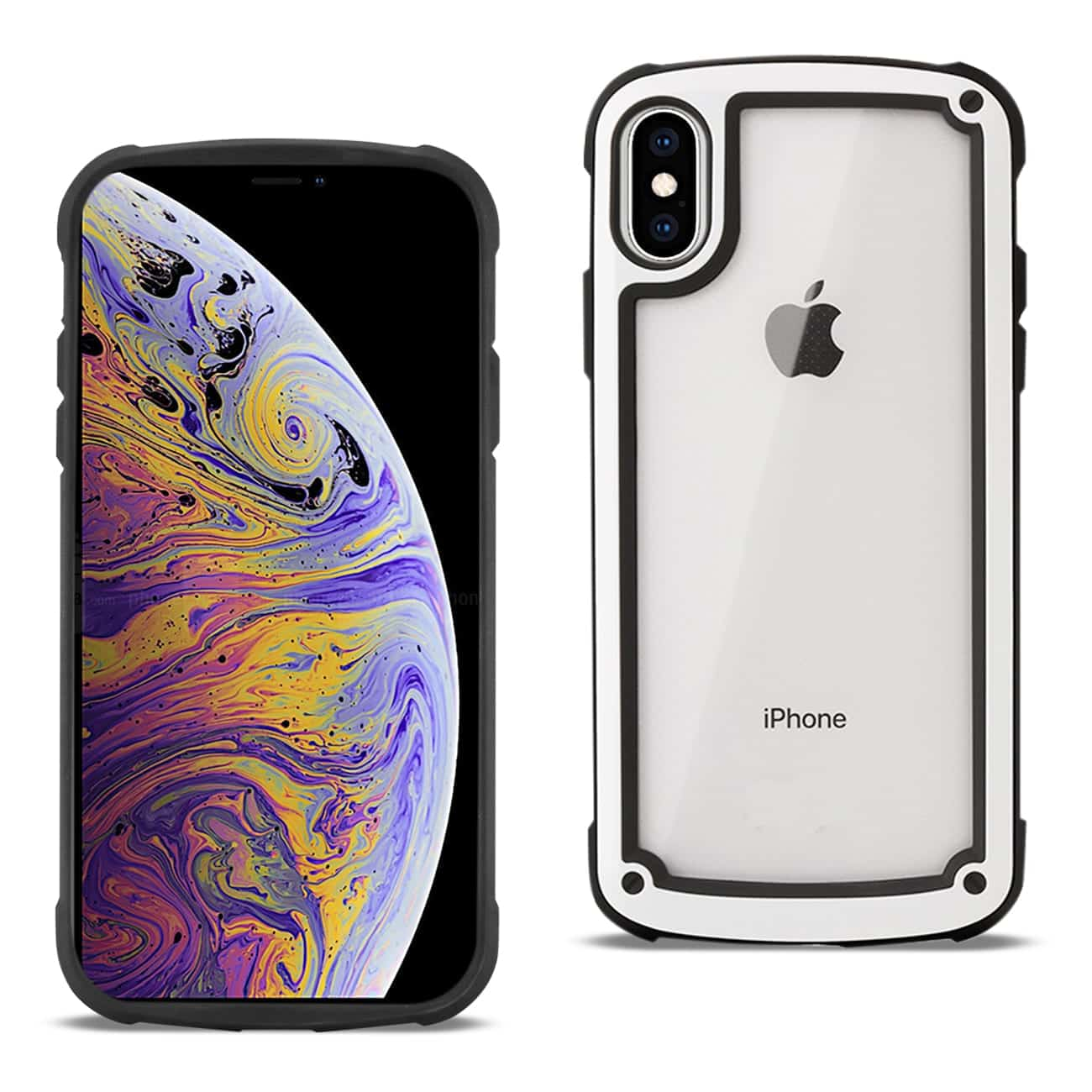 APPLE IPHONE XS MAX Heavy Duty Rugged Shockproof Full Body Case In White/Clear