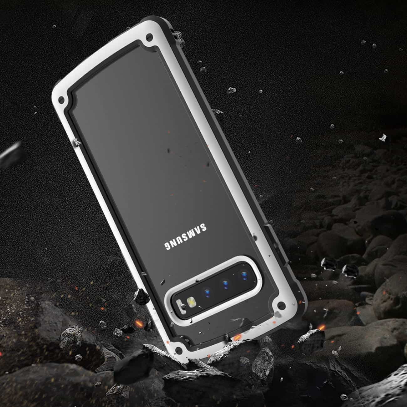 SAMSUNG GALAXY S10 Heavy Duty Rugged Shockproof Full Body Case In White/Clear