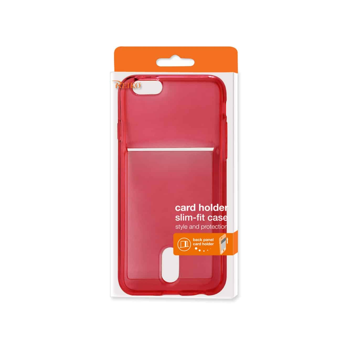 IPHONE 6 PLUS  SEMI CLEAR CASE WITH CARD HOLDER IN CLEAR RED