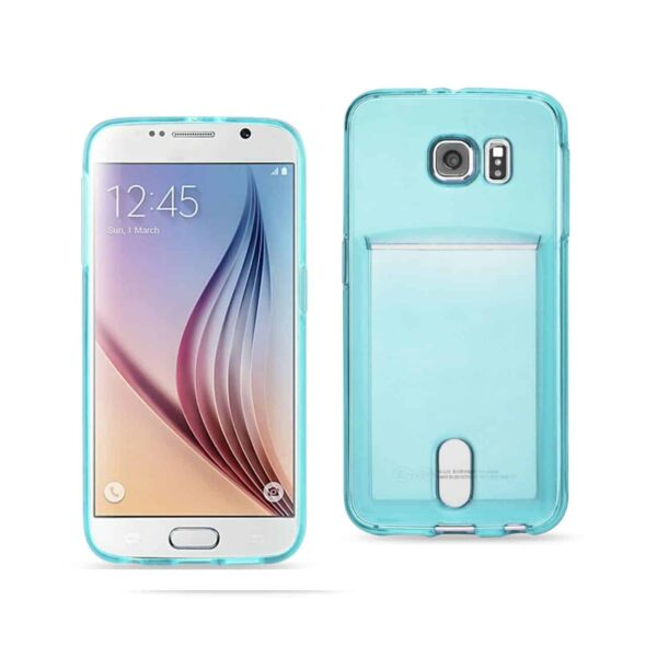 SAMSUNG GALAXY S6 SEMI CLEAR CASE WITH CARD HOLDER IN CLEAR BLUE