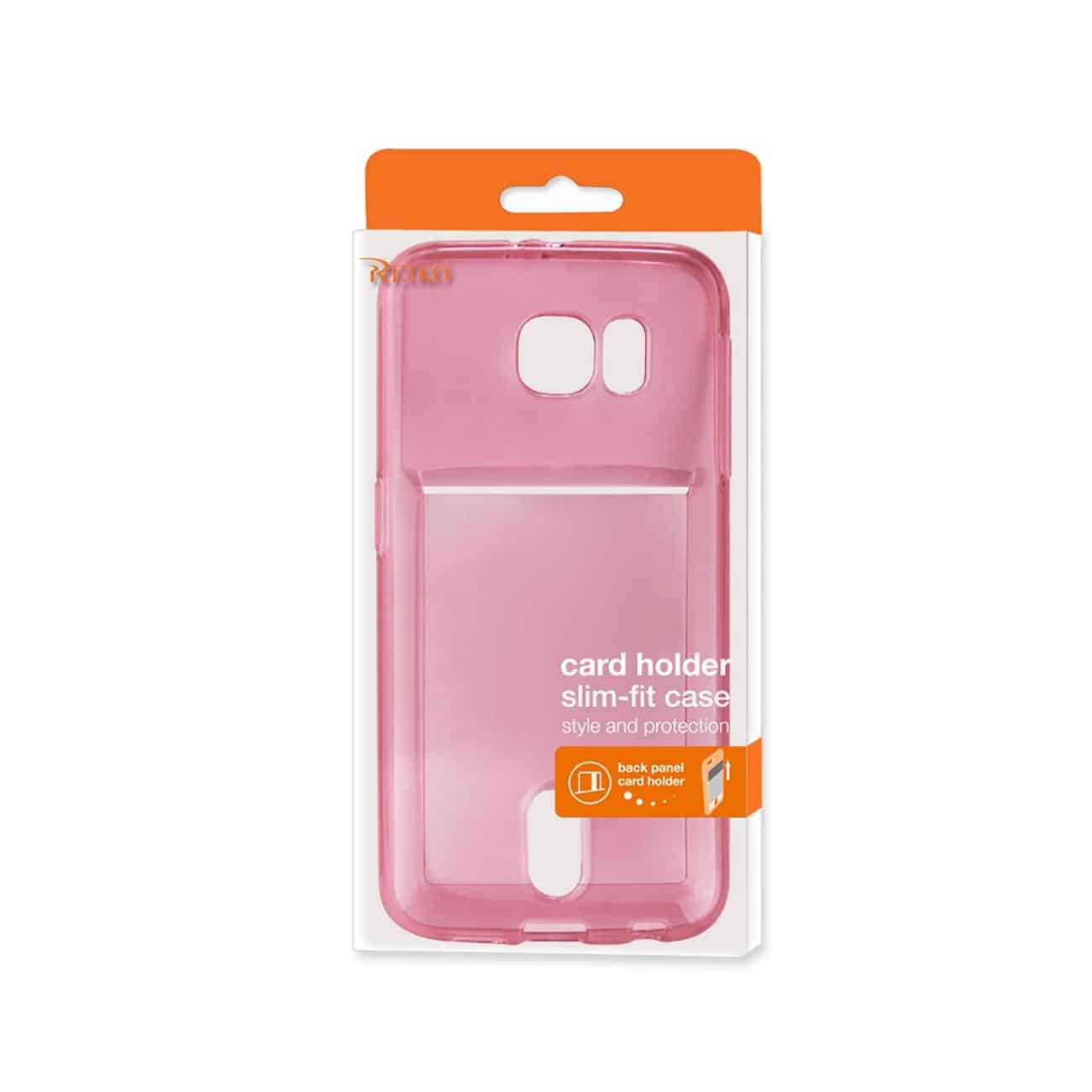 SAMSUNG GALAXY S6 SEMI CLEAR CASE WITH CARD HOLDER IN CLEAR HOT PINK