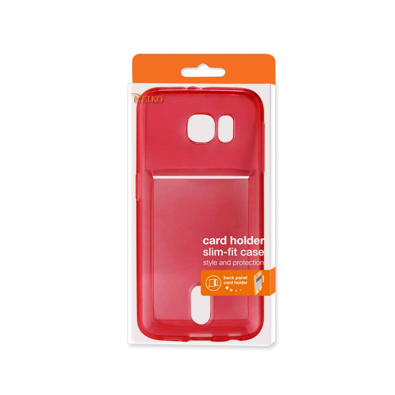 SAMSUNG GALAXY S6 SEMI CLEAR CASE WITH CARD HOLDER IN CLEAR RED