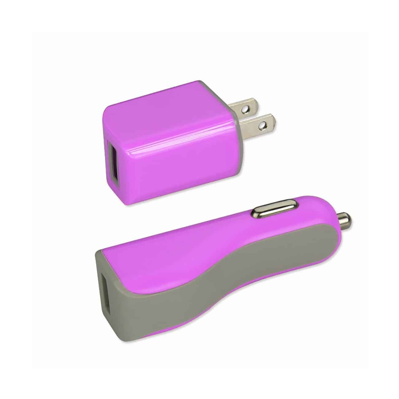 IPHONE SE/ 5S/ 5 1 AMP 3-IN-1 CAR CHARGER WALL ADAPTER WITH CABLE IN PURPLE
