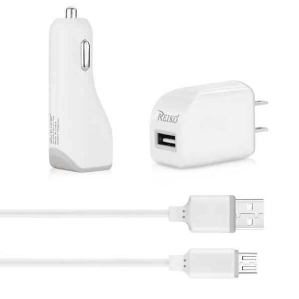 MICRO 1 AMP 3-IN-1 CAR CHARGER WALL ADAPTER WITH USB CABLE IN WHITE
