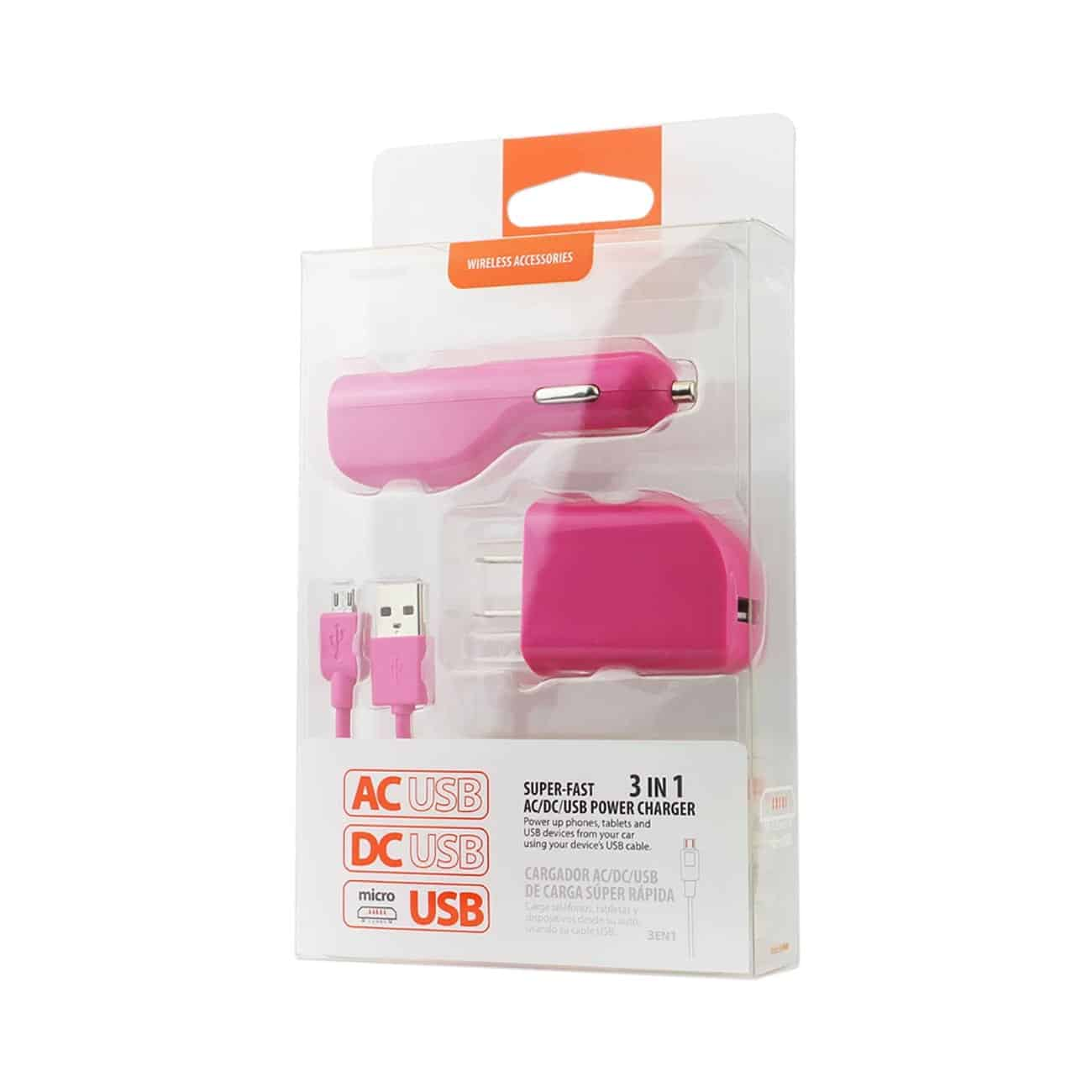 MICRO 1 AMP 3-IN-1 CAR CHARGER WALL ADAPTER WITH USB CABLE IN HOT PINK
