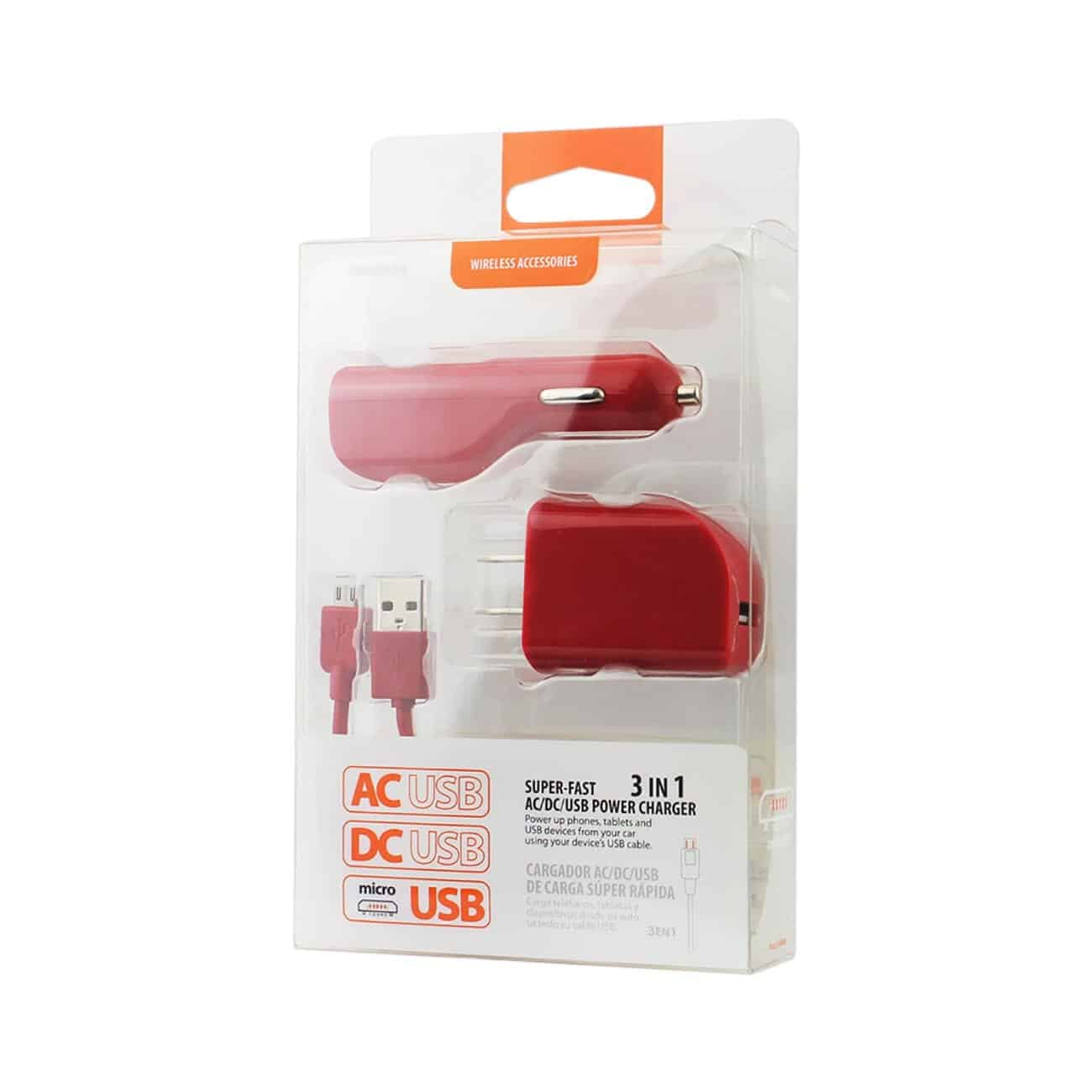 MICRO 1 AMP 3-IN-1 CAR CHARGER WALL ADAPTER WITH USB CABLE IN RED