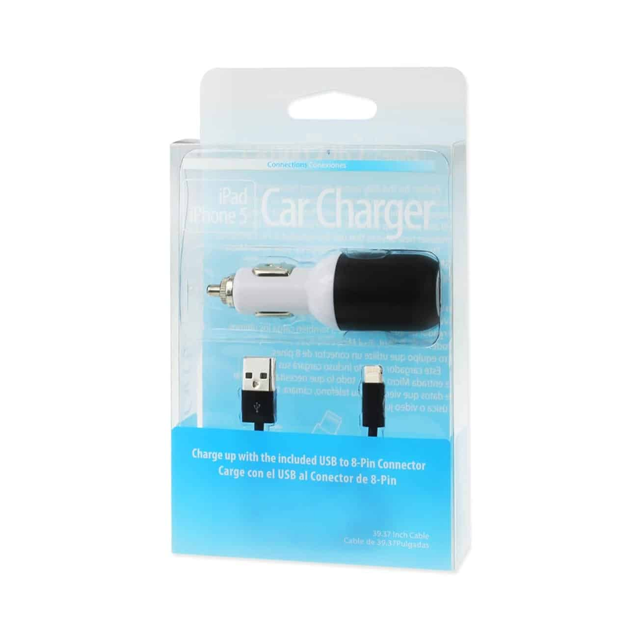 IPHONE 5/ SE 2 AMP USB CAR CHARGER WITH CABLE IN BLACK