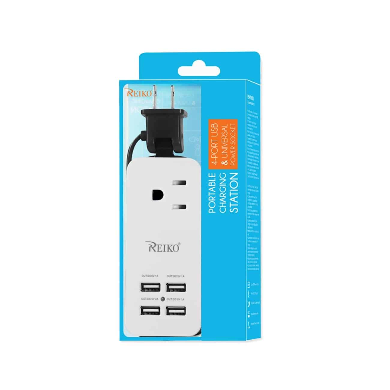 4.1AMP 4 USB HOME TRAVEL CHARGING STATION IN BLACK