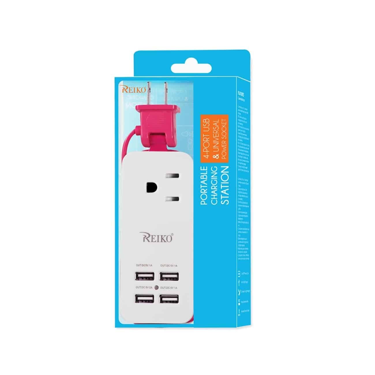 4 AMP HOME TRAVEL CHARGING STATION IN HOT PINK