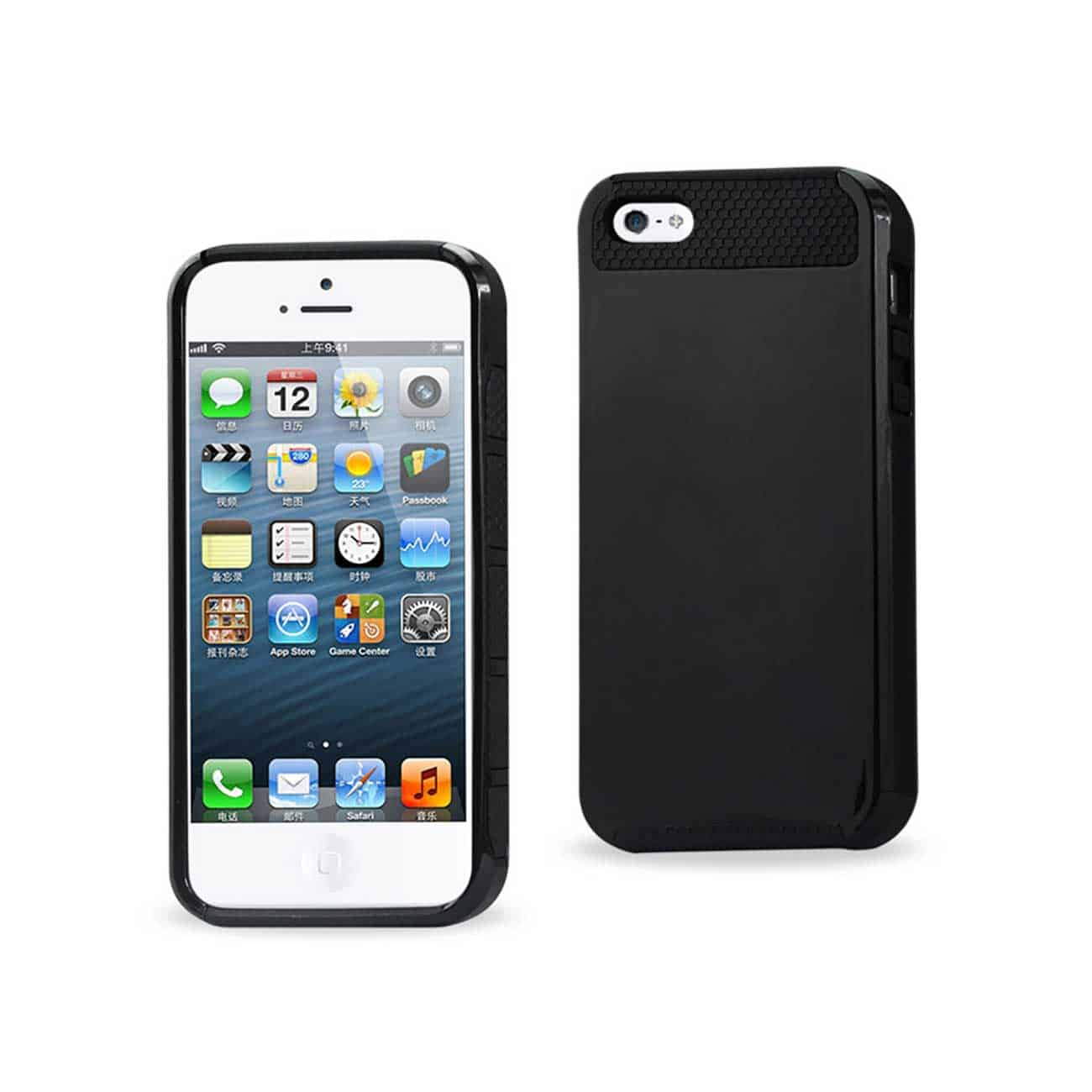IPHONE SE/ 5/ 5S CASE WITH CHIP AND CARD HOLDER IN BLACK