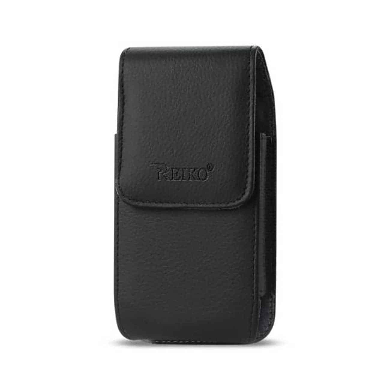 Leather Vertical Pouch With Embossed  Logo And Simple Design In Black (5.8X3.0X0.7 Inches)