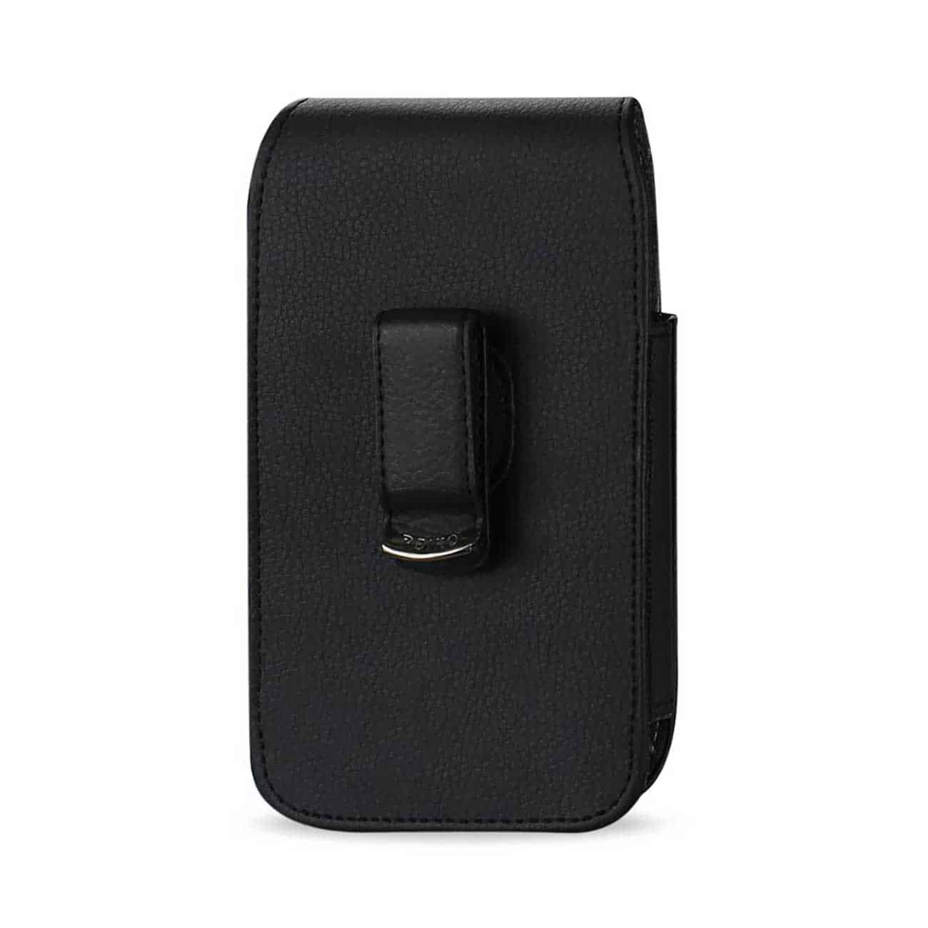 Leather Vertical Pouch With Embossed  Logo And Simple Design In Black (5.8X3.2X0.7 Inches)