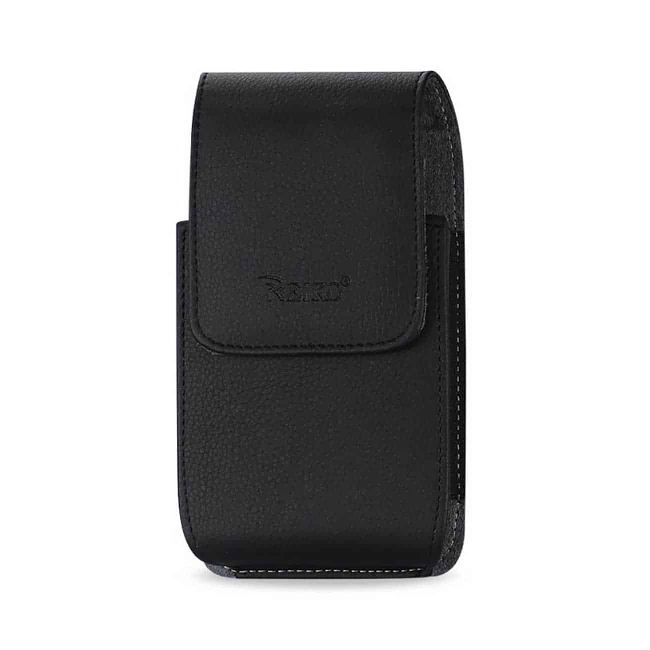 Leather Vertical Pouch With Embossed  Logo And Simple Design In Black (7.0X3.9X0.7 Inches)