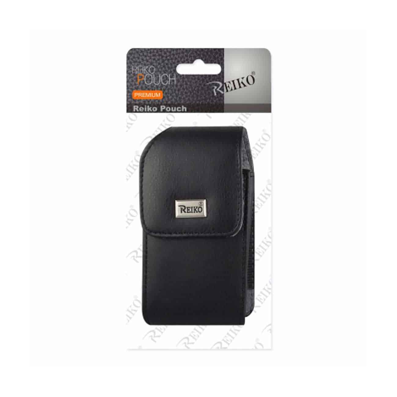 Leather Vertical Pouch With Metal Logo In Black (4.4X2.3X0.9 Inches)