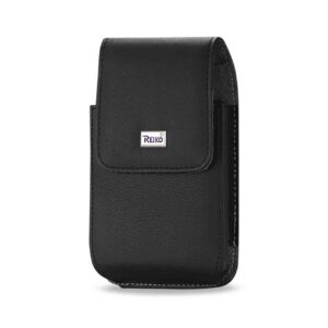 Leather Vertical Pouch With Metal Logo In Black (5.8X3.2X0.7 Inches)