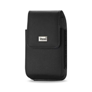 Leather Vertical Pouch With Metal Logo In Black (6.6X3.5X0.7 Inches)