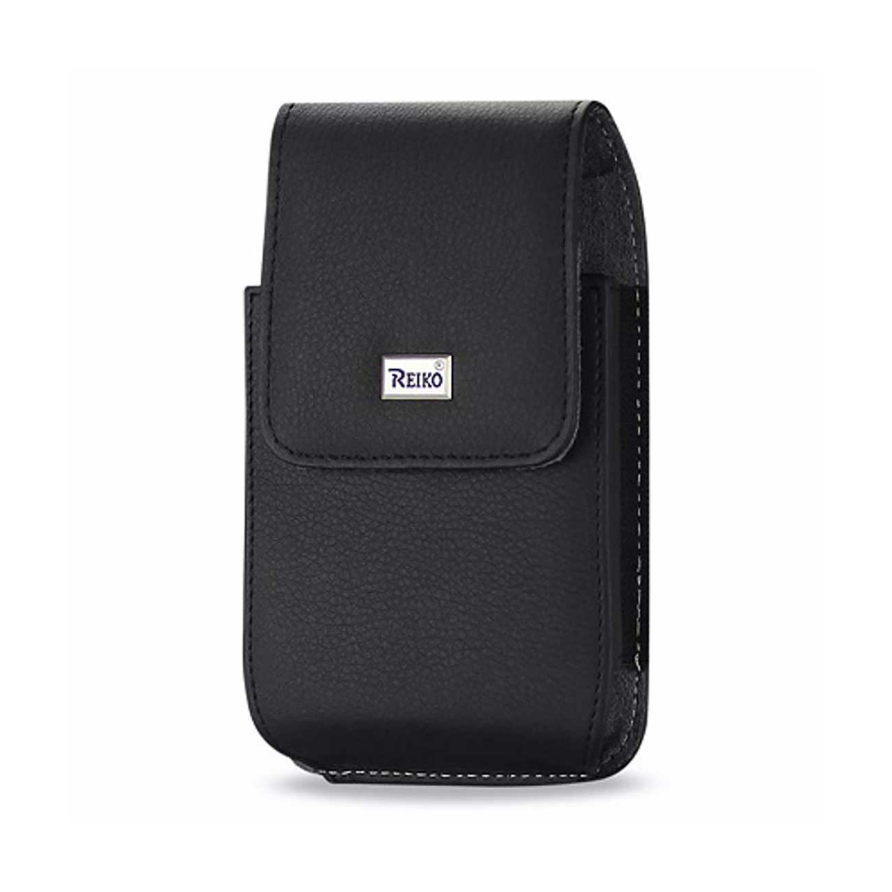 Leather Vertical Pouch With Metal Logo In Black (7.0*3.9*0.7 Inches)