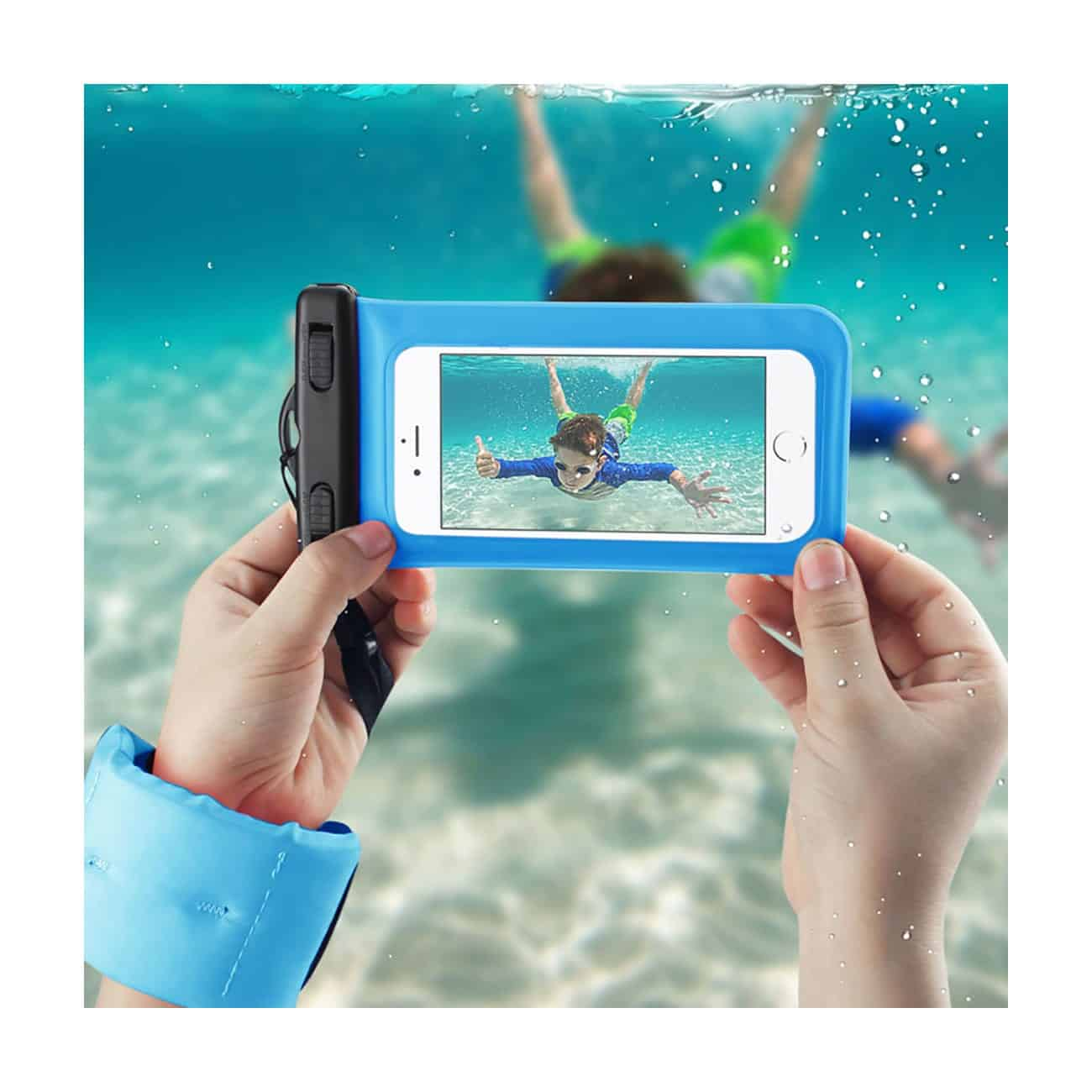 WATERPROOF CASE FOR 4.7 INCHES DEVICES WITH FLOATING ADJUSTABLE WRIST STRAP IN BLUE