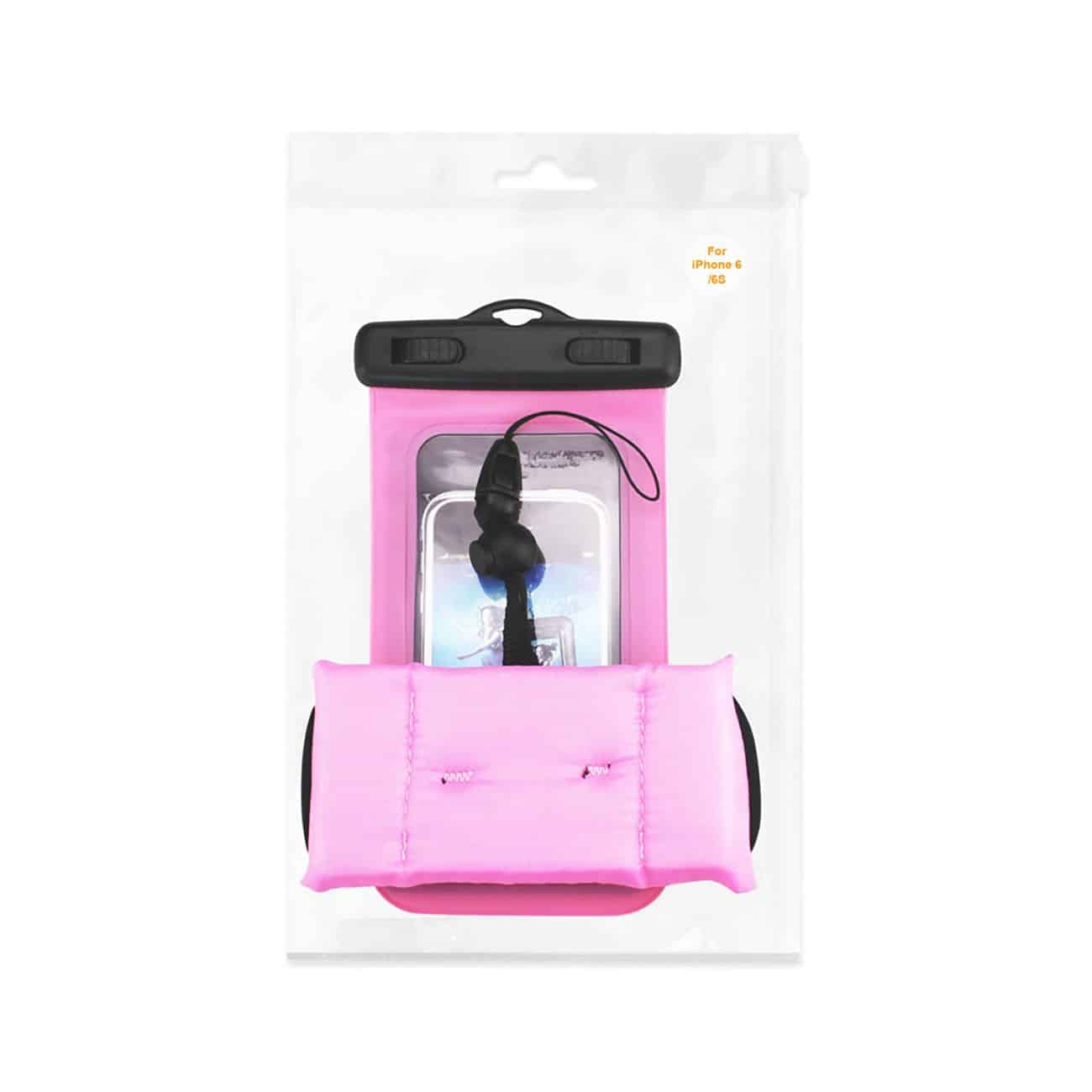 WATERPROOF CASE FOR 4.7 INCHES DEVICES WITH FLOATING ADJUSTABLE WRIST STRAP IN HOT PINK