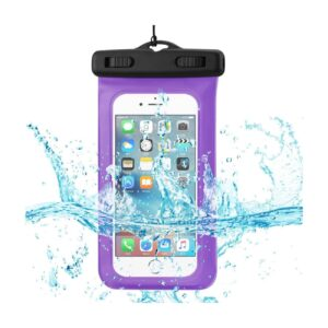 WATERPROOF CASE FOR 4.7 INCHES DEVICES WITH FLOATING ADJUSTABLE WRIST STRAP IN PURPLE