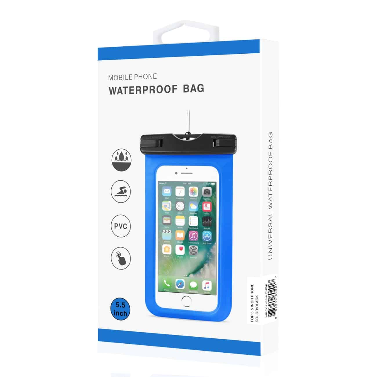 WATERPROOF CASE FOR IPHONE 6 PLUS/ 6S PLUS/ 7 PLUS OR 5.5 INCH DEVICES WITH WRIST STRAP IN BLACK