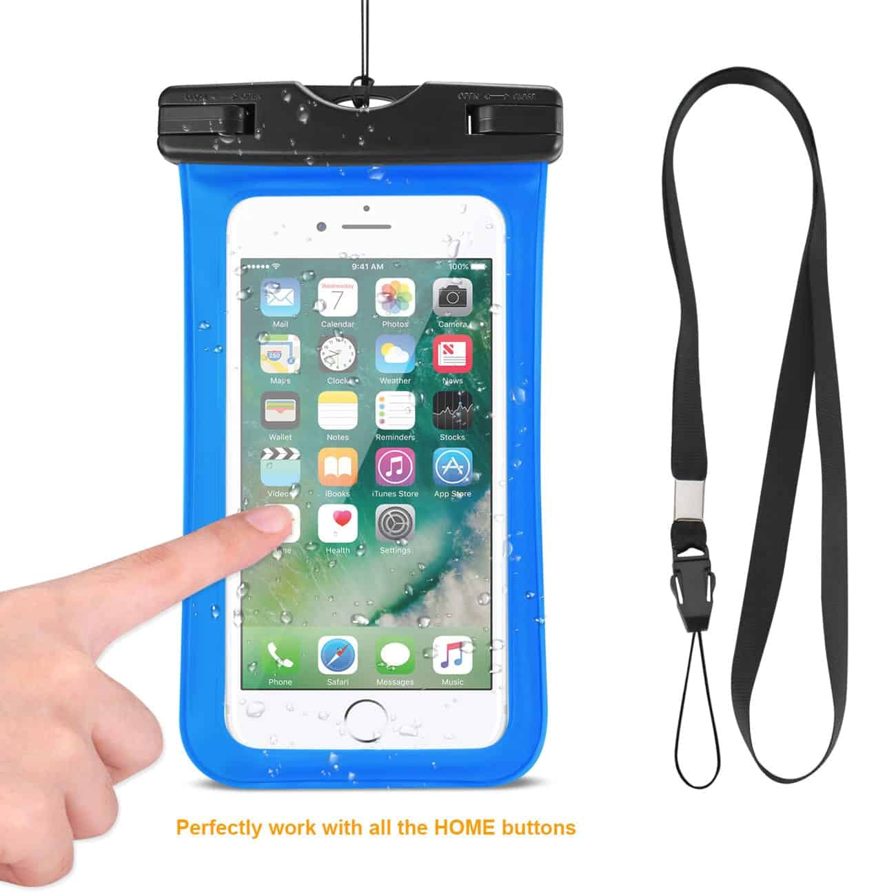 WATERPROOF CASE FOR IPHONE 6 PLUS/ 6S PLUS/ 7 PLUS OR 5.5 INCH DEVICES WITH WRIST STRAP IN BLUE