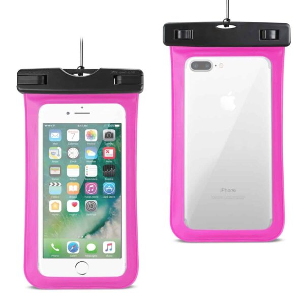 WATERPROOF CASE FOR IPHONE 6 PLUS/ 6S PLUS/ 7 PLUS OR 5.5 INCH DEVICES WITH WRIST STRAP IN PINK