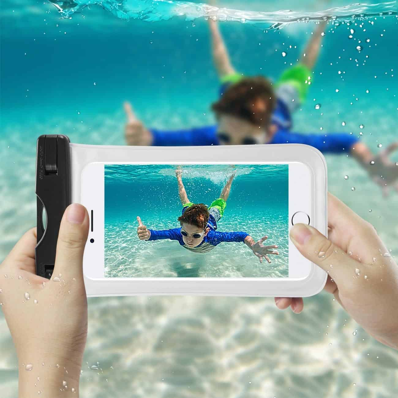 WATERPROOF CASE FOR IPHONE 6 PLUS/ 6S PLUS/ 7 PLUS OR 5.5 INCH DEVICES WITH WRIST STRAP IN WHITE