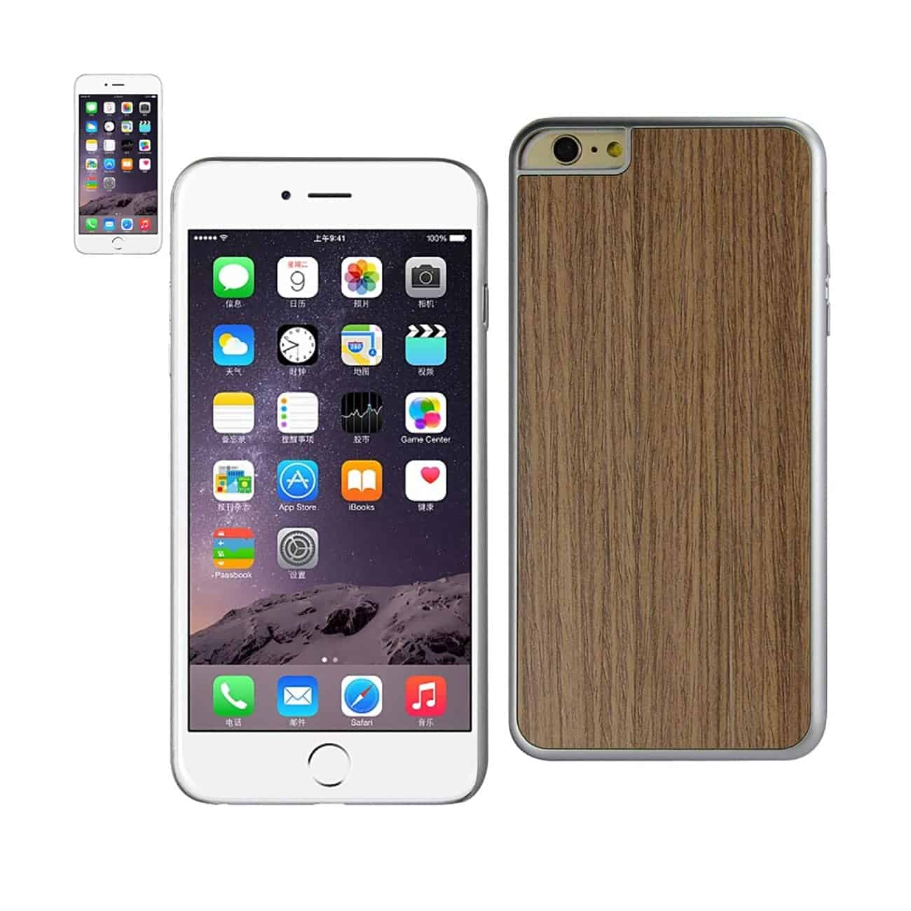 IPHONE 6 PLUS WOOD GRAIN SLIM SNAP ON CASE IN SILVER