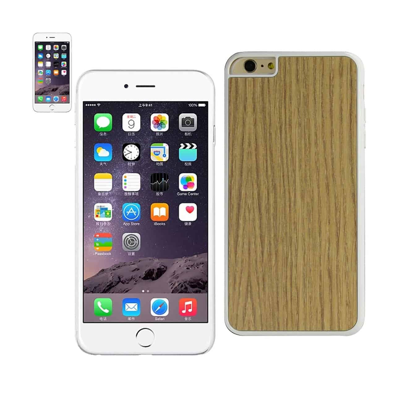 IPHONE 6 PLUS WOOD GRAIN SLIM SNAP ON CASE IN WHITE