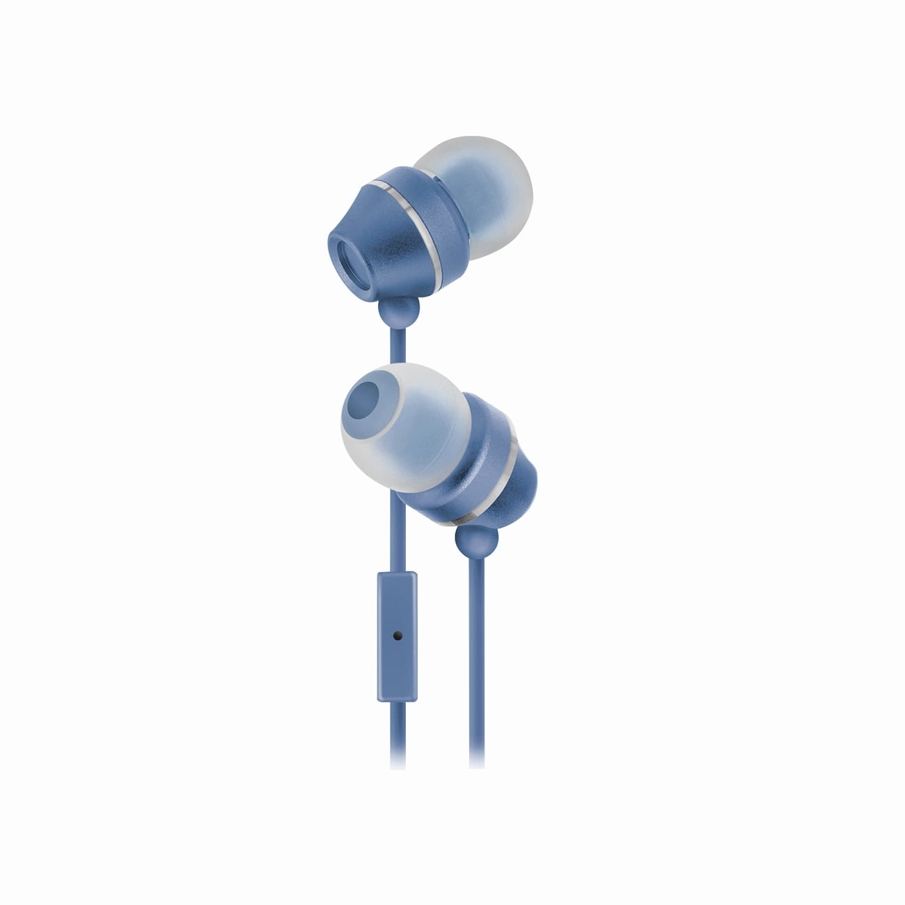Sentry Industries HM165: Stereo Earbuds with in-line Mic in white package In Blue