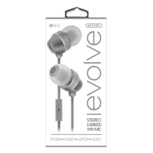 Sentry Industries HM165: Stereo Earbuds with in-line Mic in white package In Gray
