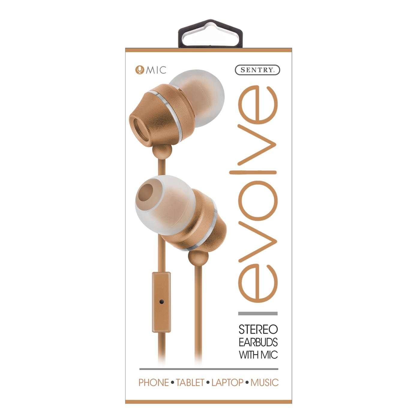 Sentry Industries HM165: Stereo Earbuds with in-line Mic In Rose Gold