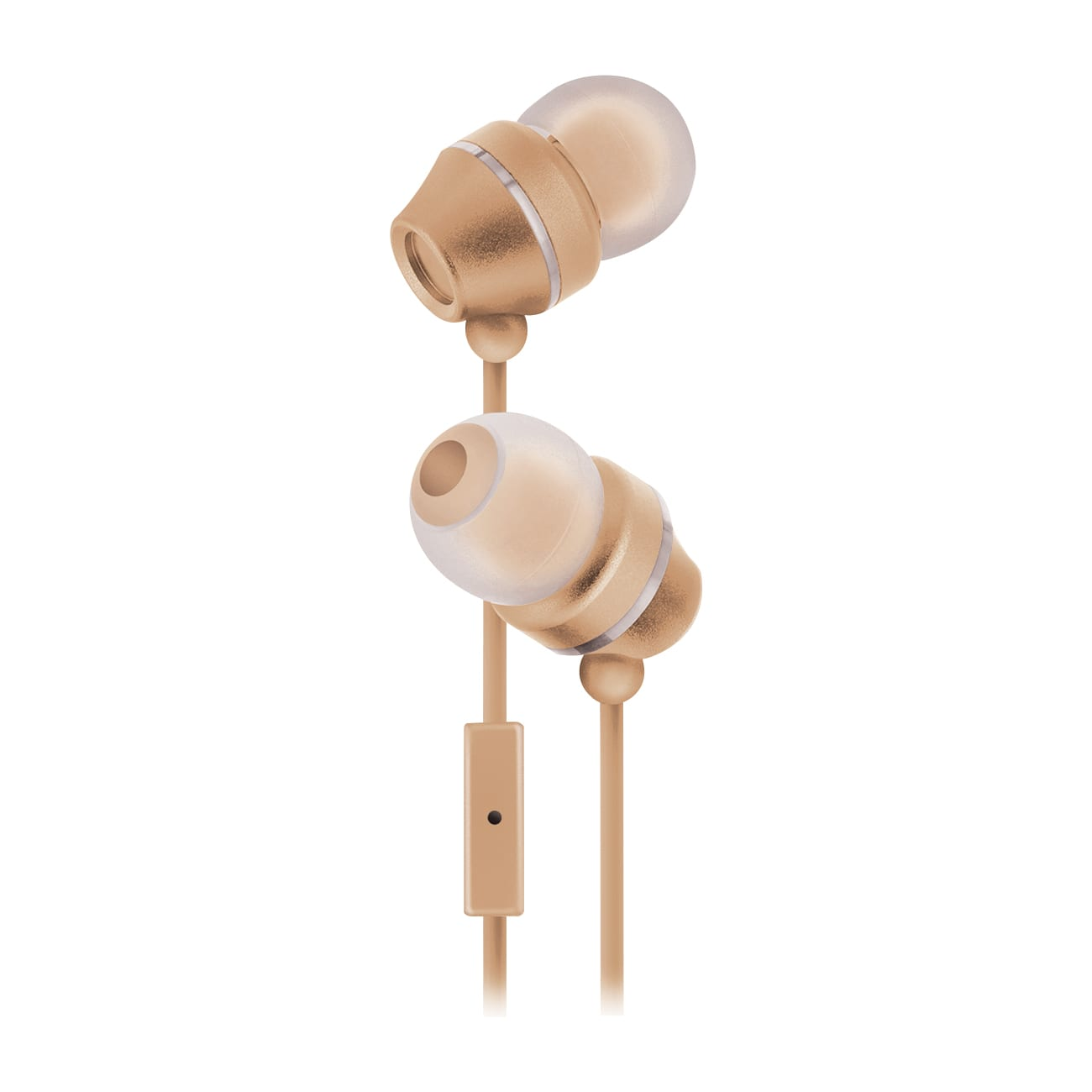 Sentry Industries HM165: Stereo Earbuds with in-line Mic in white package In Gold