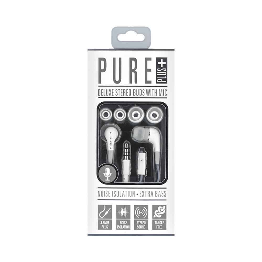 Sentry Industries HM226: Pure Plus Deluxe Stereo Buds with Mic In Gray