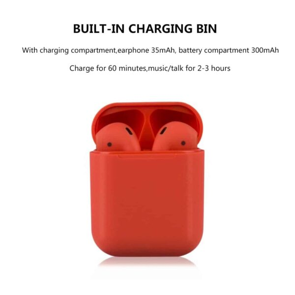 Wireless Headset Bluetooth 5.0 Headphones Twin Earbuds I12-tws In Red