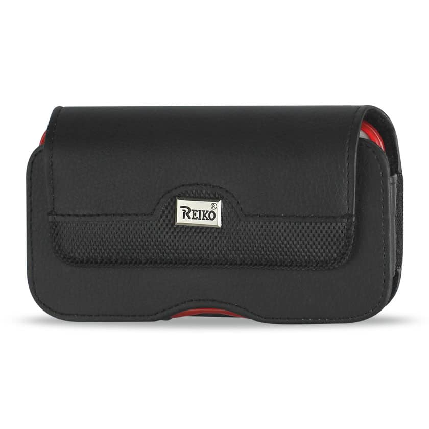ISTIK Horizontal Leather Pouch With Metal ISTIK Logo In Black (5.8X3.2X0.7 Inches)