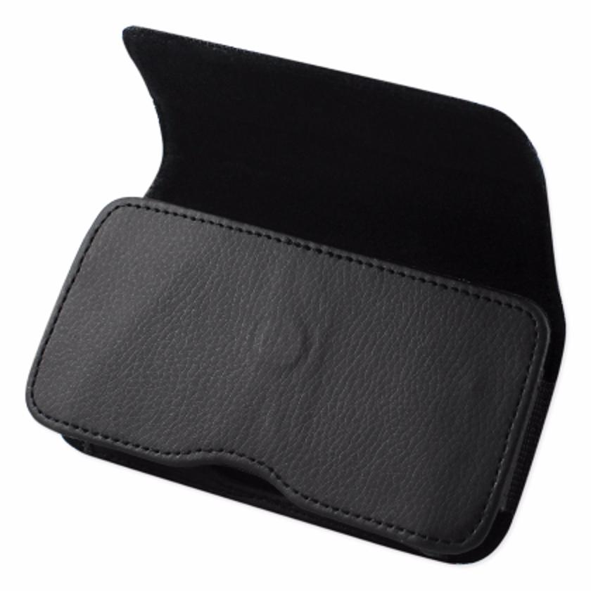 ISTIK Horizontal Leather Pouch With Metal ISTIK Logo In Black (6.6X3.5X0.7 Inches)