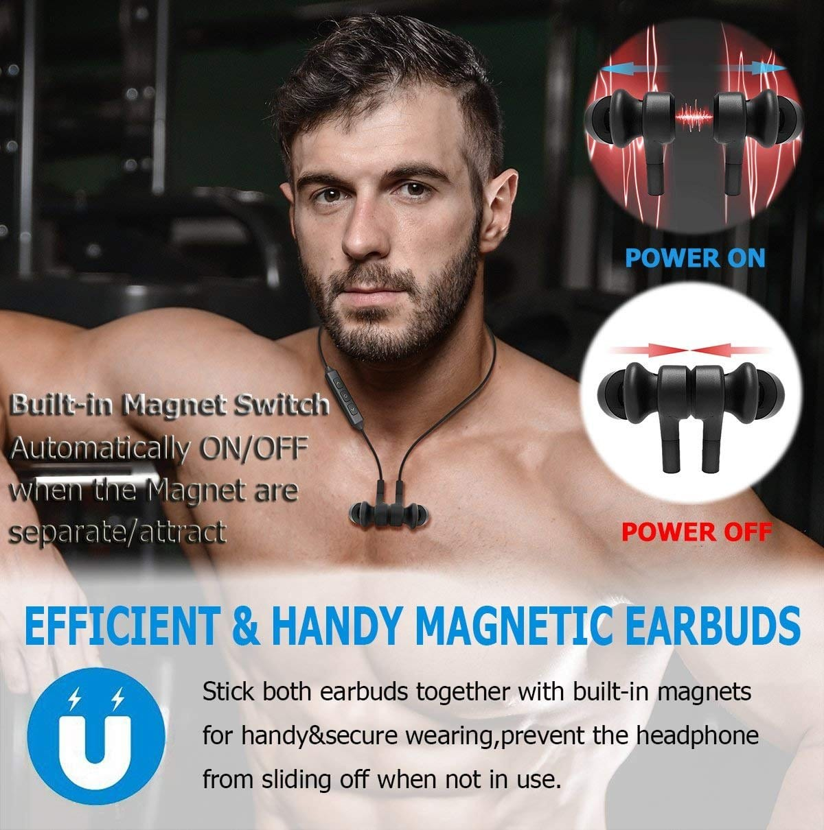 Wireless Sport Earphones with Magnetic Controlled Switch In Red