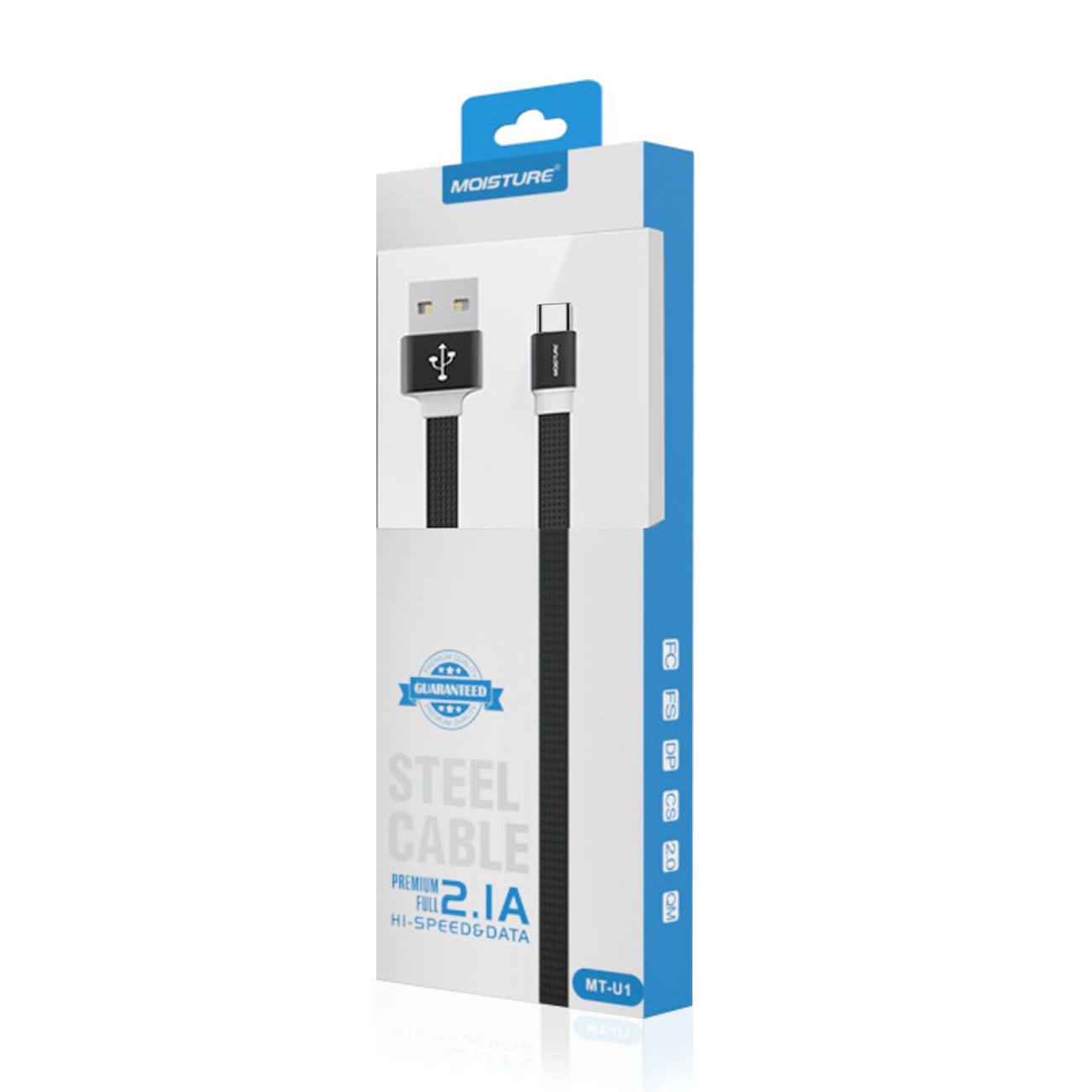 High Speed Type-C Steel Data Cable in Black
