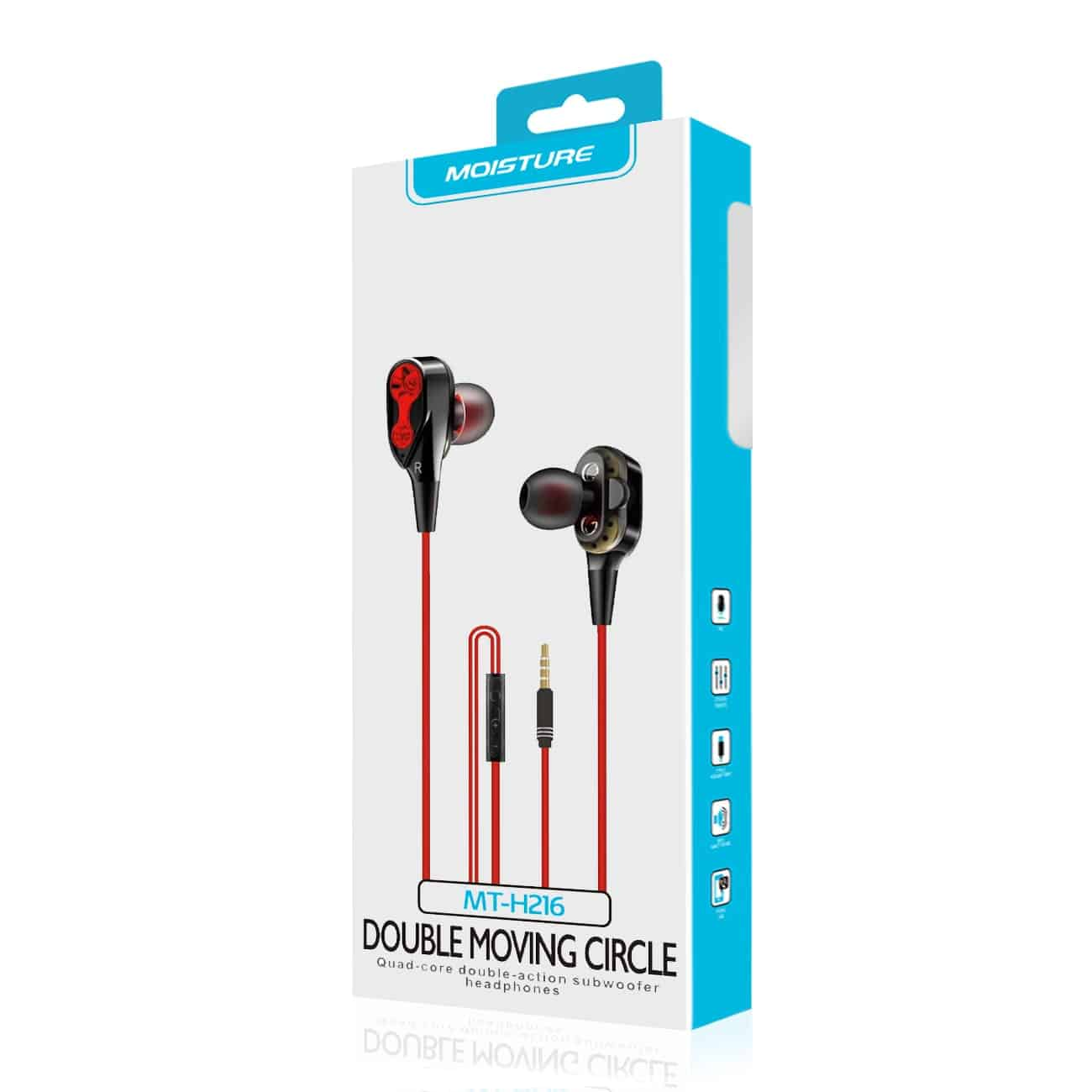Moisture MT-H216 Earphones In Red and Black