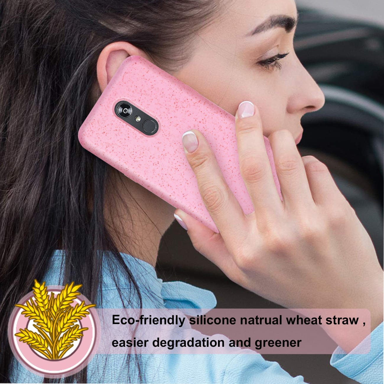 ISTIK LG STYLO 5 Wheat Bran Material Silicone Phone Case In Pink