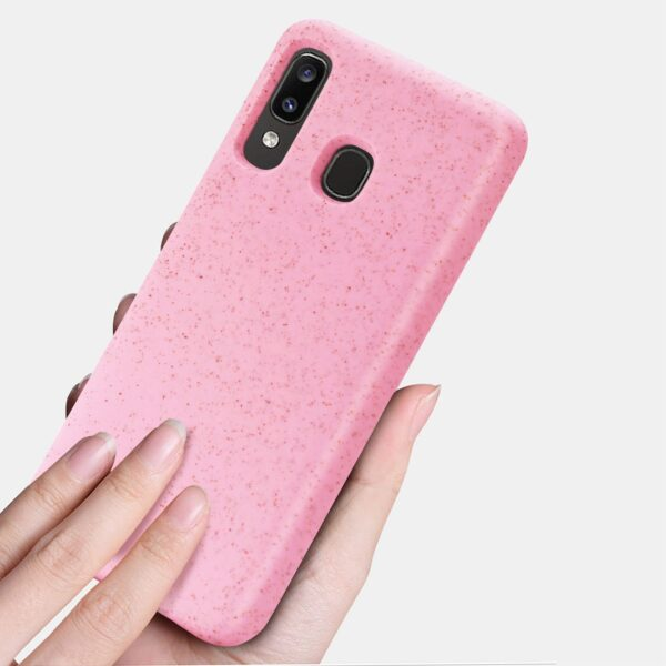 ISTIK SAMSUNG GALAXY A20 Wheat Bran Material Silicone Phone Case In Pink