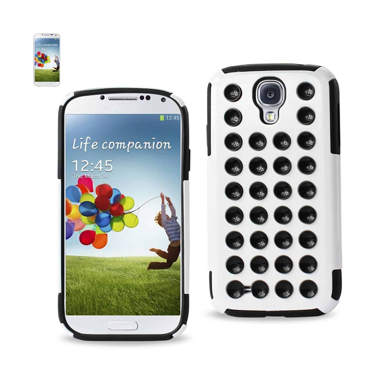 ISTIK SAMSUNG GALAXY S4 HYBRID SUCTION DOT HOLES CASE IN BLACK WHITE