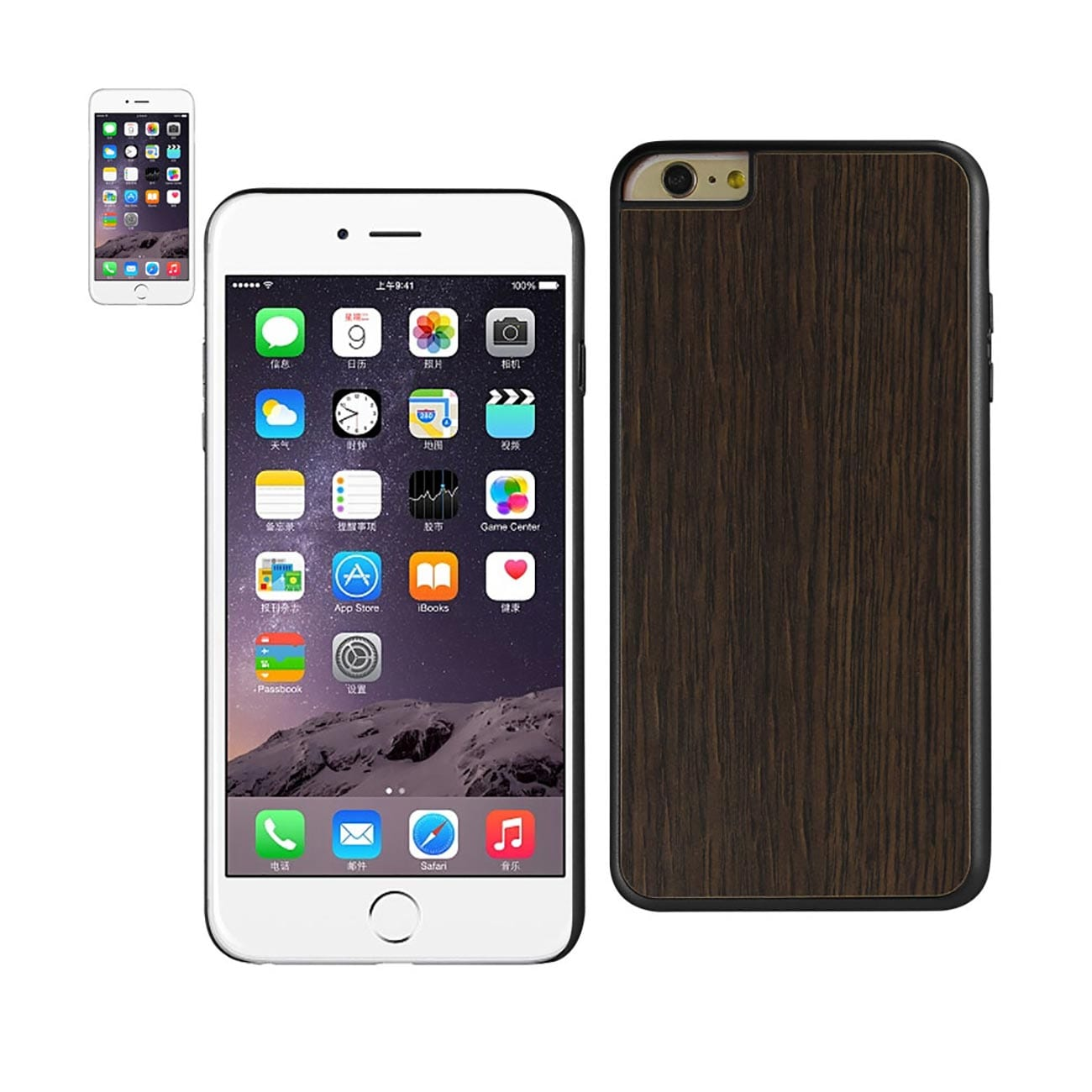 ISTIK IPHONE 6 PLUS REAL WOOD SLIM SNAP ON CASE IN BLACK