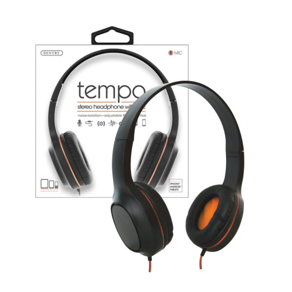 Sentry Industries DLX100: Tempo Stereo Headphone with MC In Orange