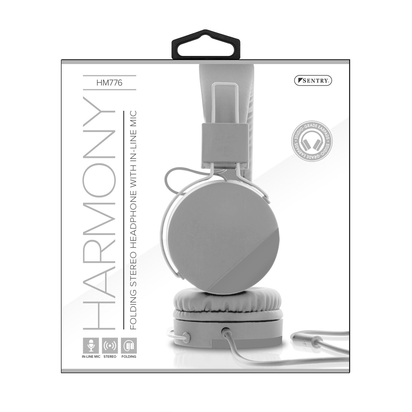 Sentry Industries HM776: Harmony Folding Stereo Headset Gray